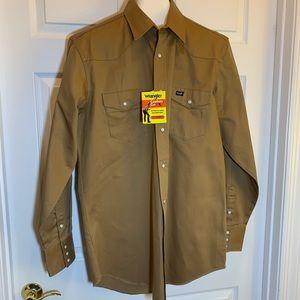 Wrangler Rawhide Brown Twill Work Shirt Size LT